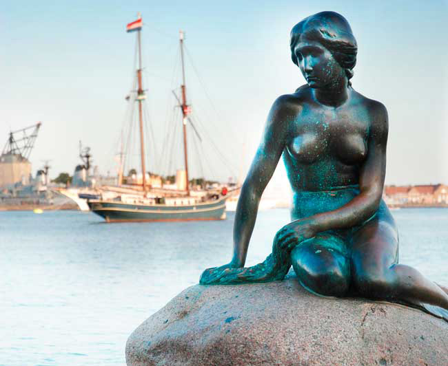 The Little Mermaid Statue is one of the main attractions of Copenhagen.